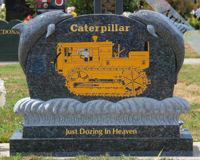 Cat Bulldozer Engraving with Dolphin Headstone
