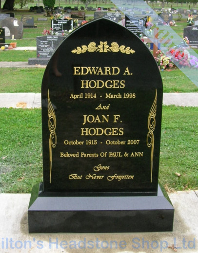 Black Granite Gothic Headstone