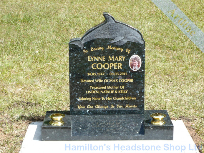 Inlayed Granite Dolphin Headstone