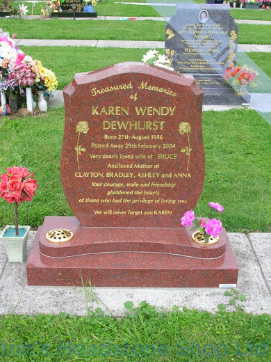 Ruby Red Shield Headstone
